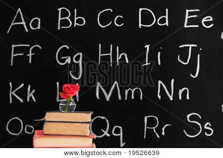 teacher appreciation - rose and a chalboard