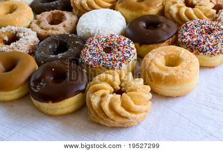 lots of delicious donuts - narrow depth of field