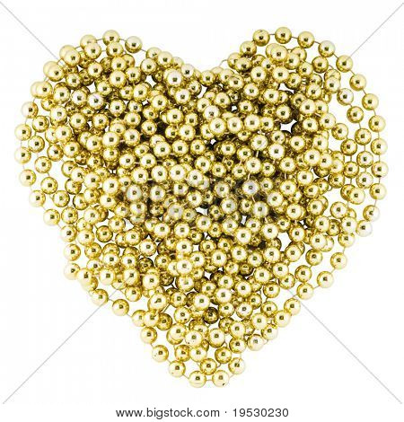 heart shape from christmas decorative golden garland (clipping path)