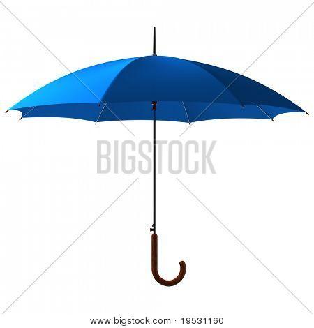 open classic blue umbrella stick