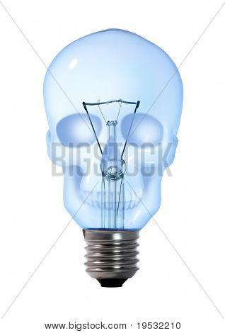 skull tungsten light bulb lamp on white background