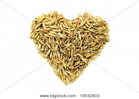Golden grains wheat in the form of a heart isolated on white background