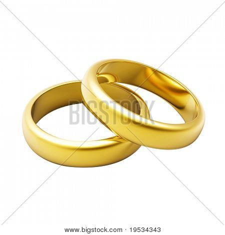 3D gold wedding ring isolated on white background
