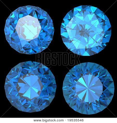 Round swiss blue topaz isolated on white background. Gemstone