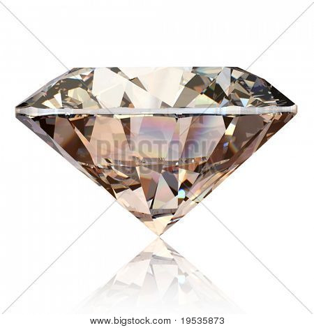 Diamante redondo coñac aislado sobre fondo blanco. Piedras preciosas