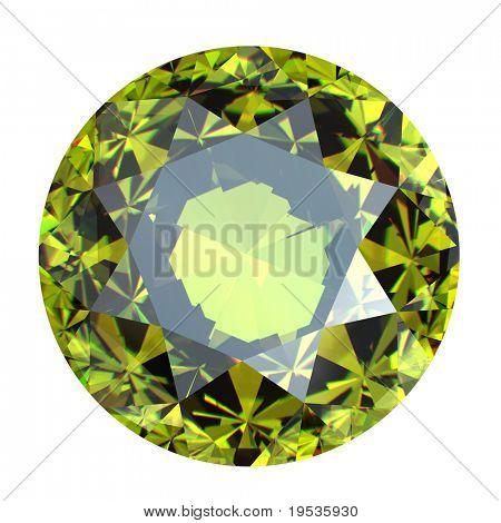 Round peridot isolated on white background. Gemstone
