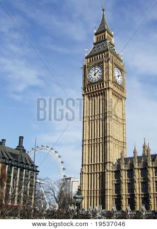 Big Ben with London Eye in the background. (London, England)