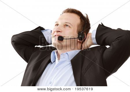 Closeup portrait of a relaxed man with a headset