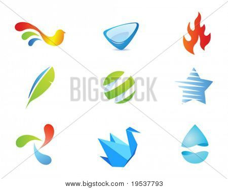 9 quality vector icons pack - different stylish abstract objects, fire flame, star, water drop, origami and bird shaped icons