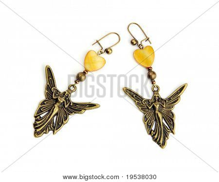 Nymph and nacre earrings, isolated on white background
