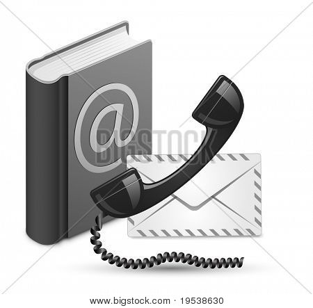 """Contact Us"" vector illustration. Phone receiver, contact book and mail"