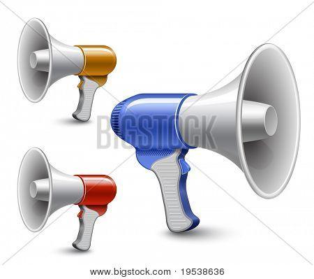 Megaphones. Loudspeaker collection. Highly detailed vector illustration
