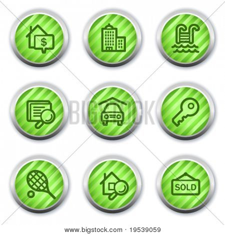 Real estate web icons, green glossy circle buttons