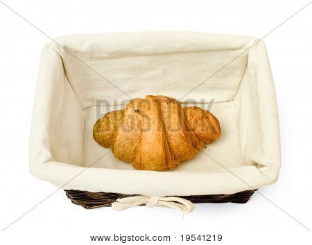 resh bread rolls in a basket on white