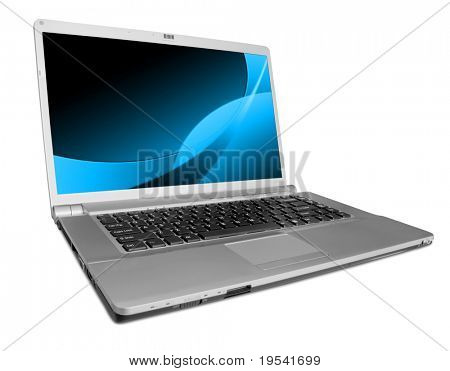 modern laptop on the white