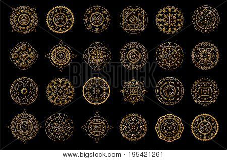 poster of Golden mandalas on black background. Boho style vector design elements. Round eastern ornament clipart. Vector mandalas for wedding design. Luxury oriental motif. Gold mandalas with astrology signs