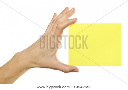 card blank in a hand on the white baskgrounds