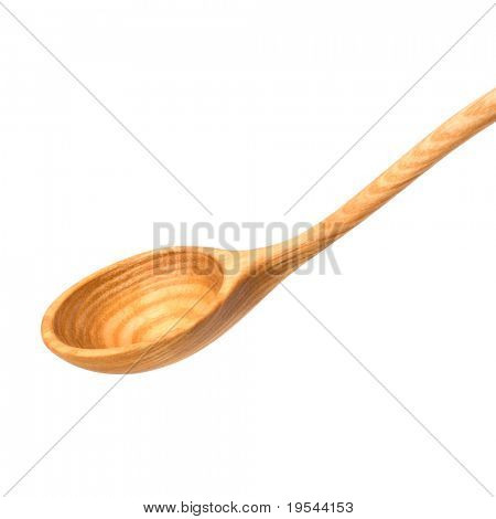 Vintage wooden spoon  isolated on white background