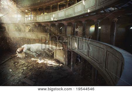 levitating woman in old church