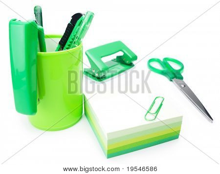 Green office. Assortment of green office stationaries. Concept image for ecological office.