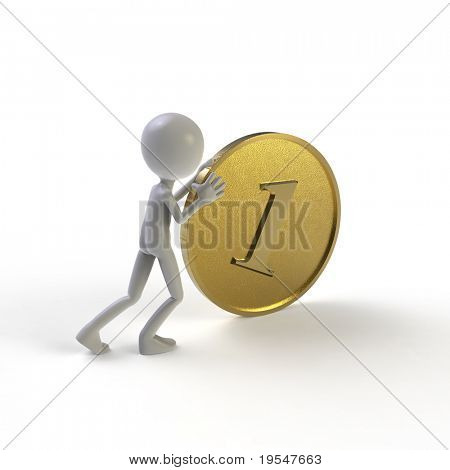 man pushing big golden coin