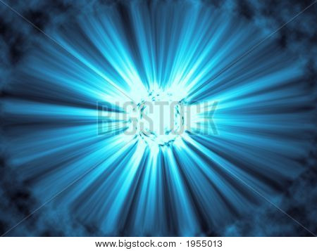 Blue Sunburst With Rays And Clouds - Digital Illustration