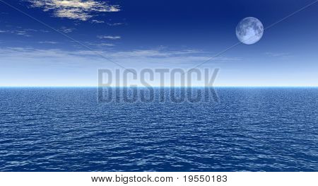 Sea landscape with full moon - digital artwork