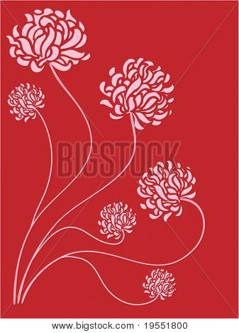 Pink peons on a dark red background - graphic illustration