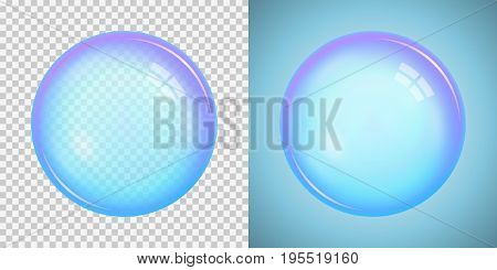 Colorful soap bubble with a basic blue color with transparency isolated on a checkered and blue background. Vector illustration.  Stock vector graphics