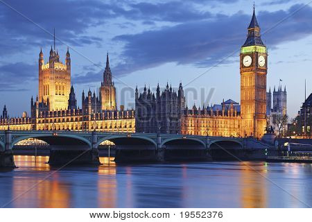 UK London Big Ben Tower Bridge Dusk