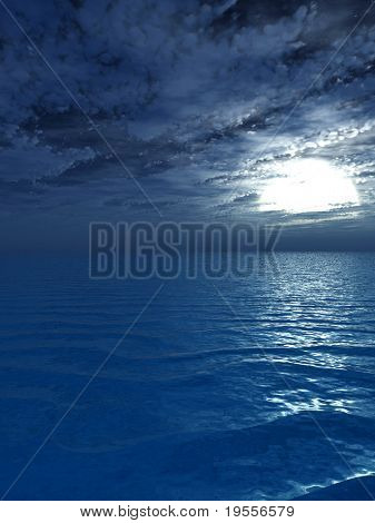 The full moon at night - digital artwork