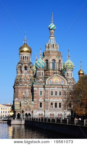 Spas-na-krovi cathedral reflecting on channel water. St.Petersburg, Russia.