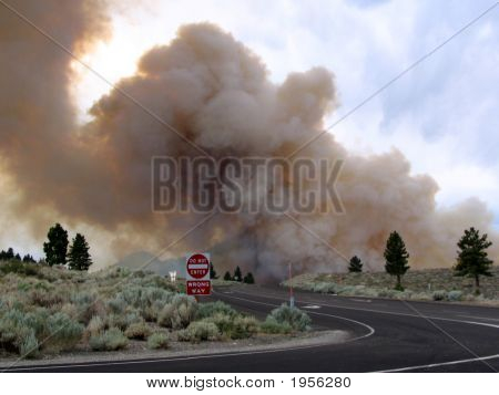 Big Smoke Cloud Drifting  Over Highway 395 Ca