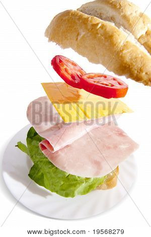 Irresistible Ham Sandwich On White Background