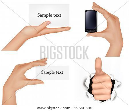 Set of hands holding different business objects. Vector illustration.