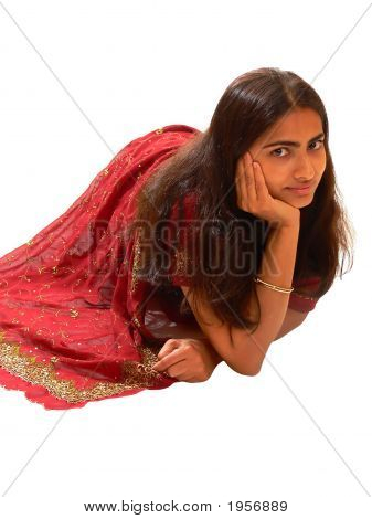 Indian Lady In Red Dress.