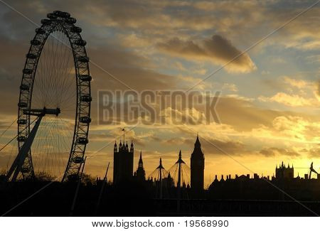 London Eye at sunset