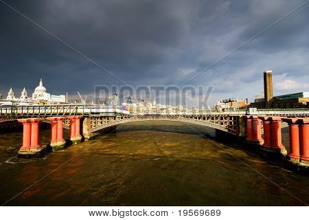 River Thames with storm clouds passing over