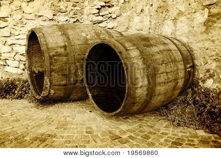 Two old empty wine barrels from a medieval european village