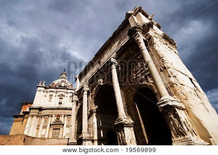 Ancient Temple in the Roman Forum, Rome, Italy