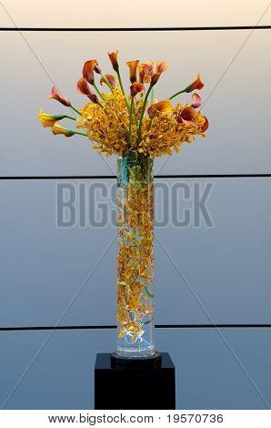 Designer floral bouquet in glass vase