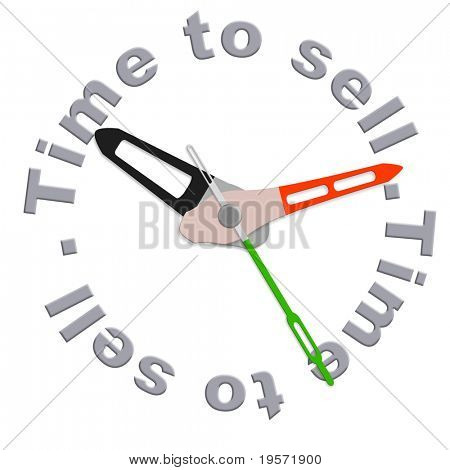 Time to sell on stock market clock indicating moment to start selling  during financial crisis sales strategy