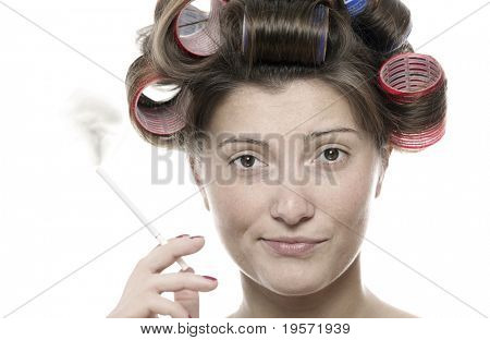 A portrait of an ugly woman smoking against white background