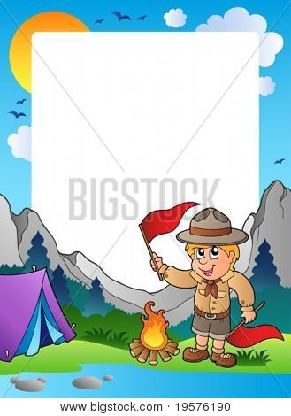 Summer frame with scout theme 5 - vector illustration.