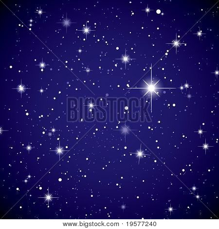 Sparkling nights sky with stars and dark space view