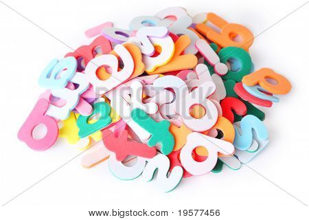 lots of colorful letters for child, alphabet, heap isolated on white