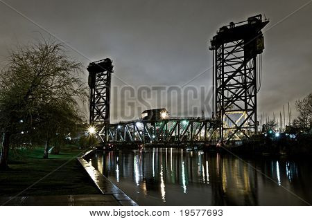 Night scene with vertical lift bridge on Chicago's south side