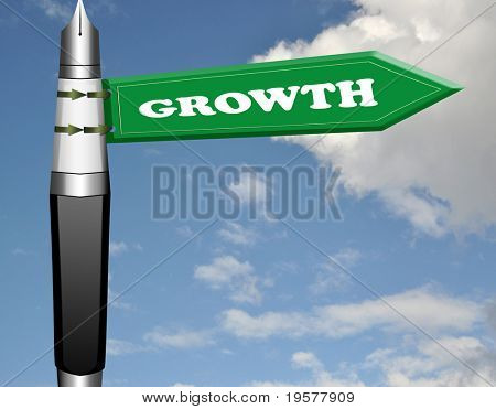 Growth fountain pen road sign