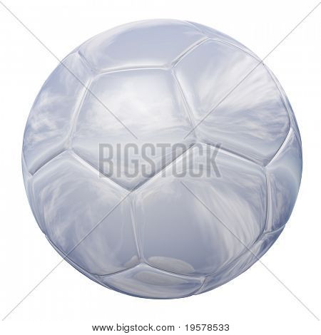 white glass soccer ball isolated on white background, for sport and recreation designs