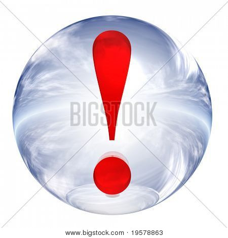 3d blue and white glass sphere isolated on white background,with red 3d symbol for web design buttons.exclamation sign.